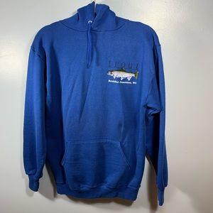 Vintage   Jerzees Blue Trout Wisconsin Hoodie   L
